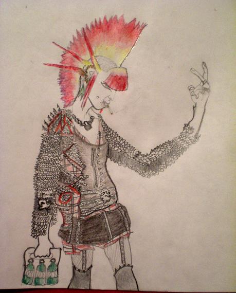 459x570 Punk Rock Girl Sketch By Ookiee