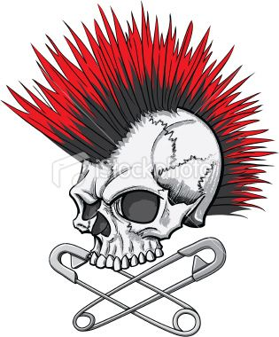 315x380 Illustration Of A Punk Rock Skull With Mohawk And Crossed Safety