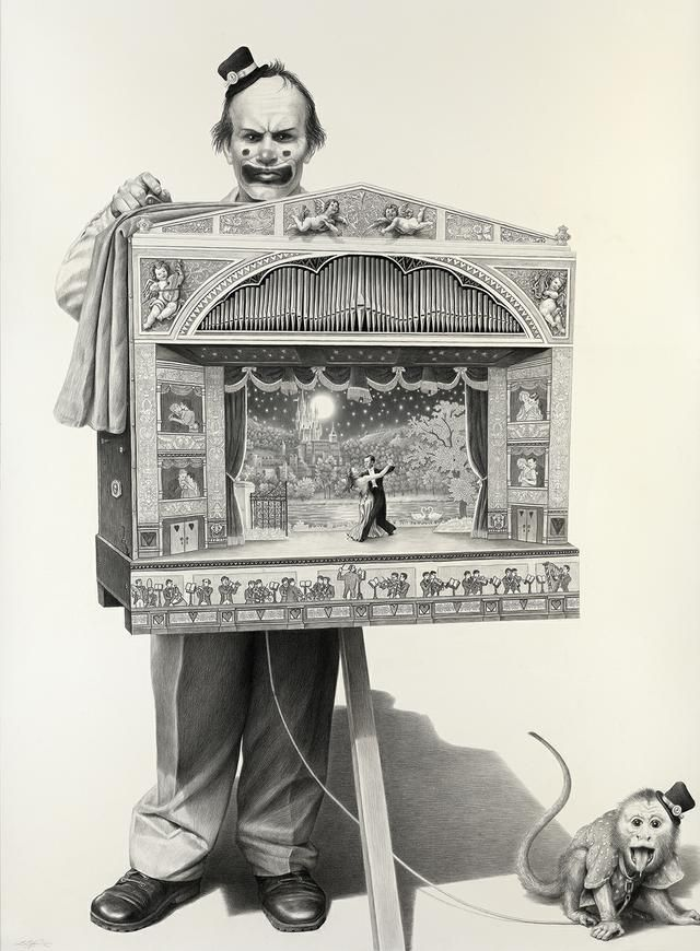 640x870 Vintage Photograph Of Creepy Evil Clown With Theatre Puppets