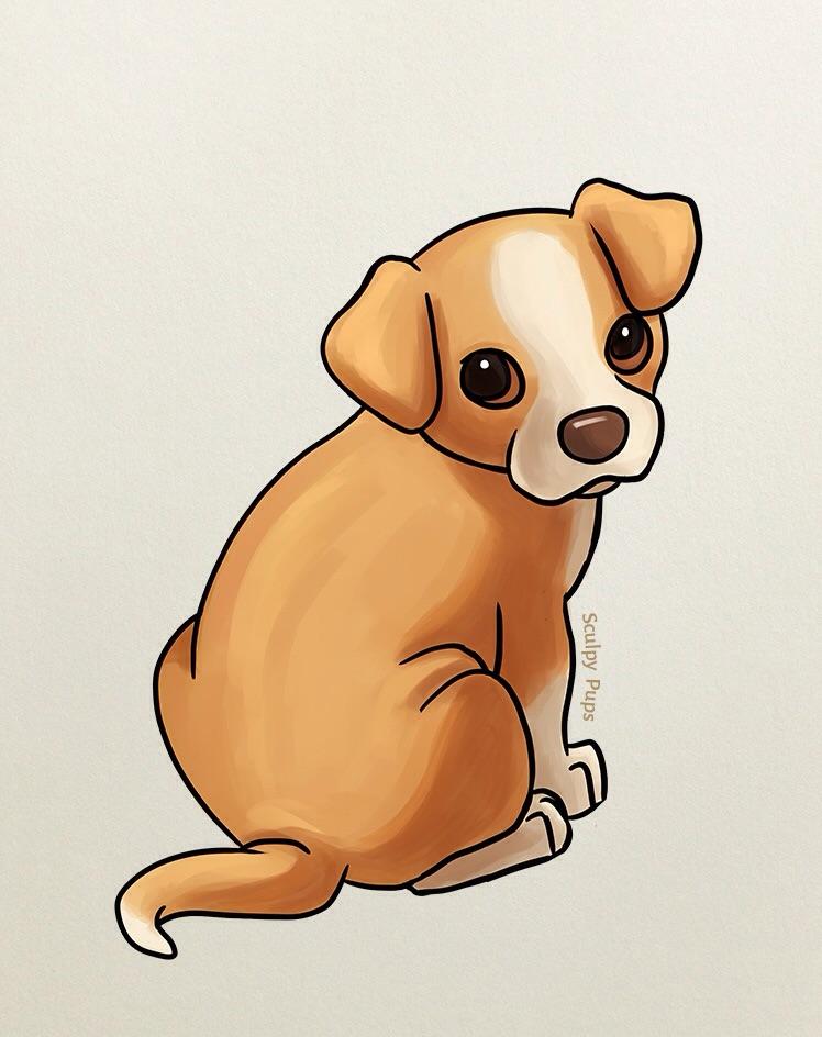 748x944 Cute Puppy Drawing By Sculptedpups
