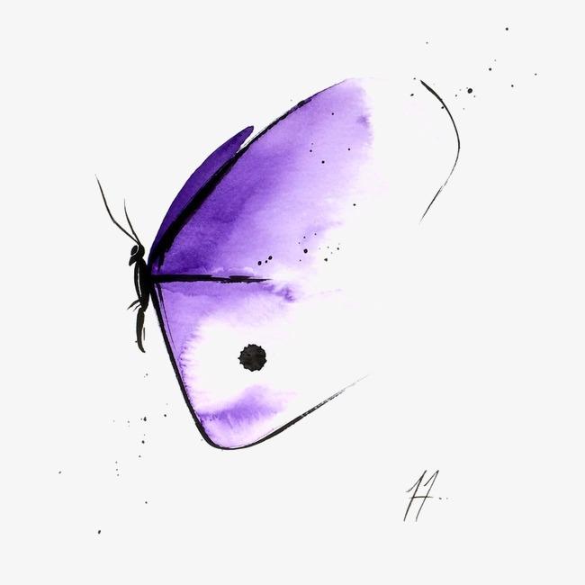 650x650 Hand Drawn Cartoon Purple Butterfly, Purple Butterfly, Drawing