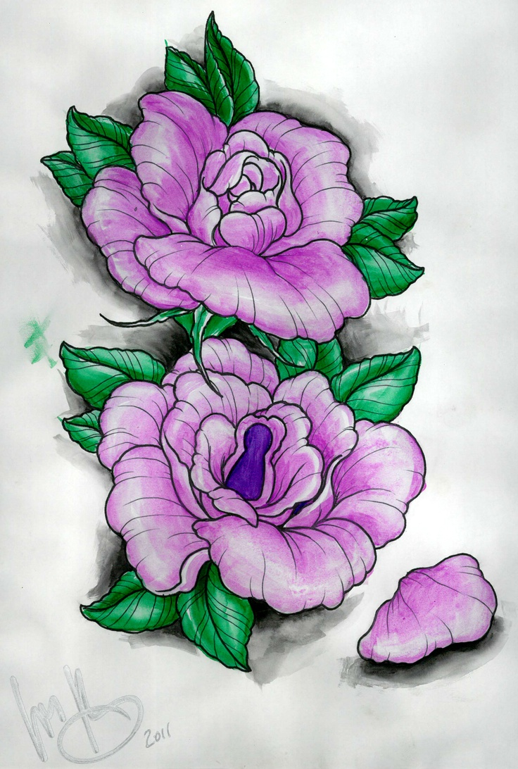 736x1092 image result for drawings of purple flowers tattoo ideas