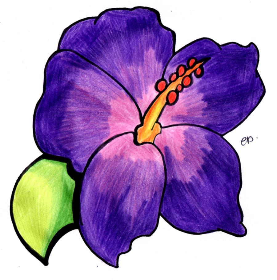 Purple Flower Drawing at GetDrawings | Free download