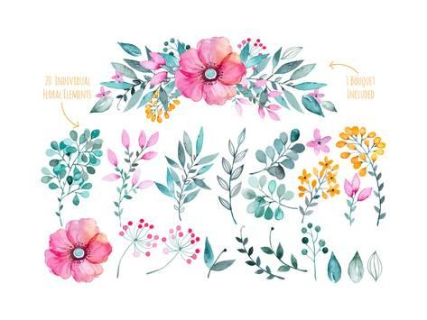 473x355 Vector Floral Set.colorful Purple Floral Collection With Leaves