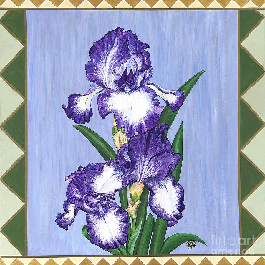 900x900 Stain Glass Purple Iris Painting By Patty Vicknair