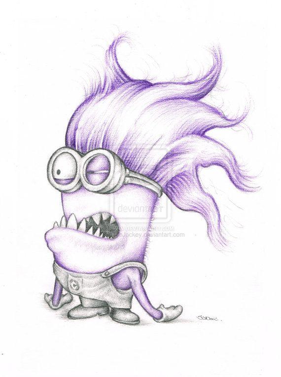 570x764 Purple Minion Minnion Despicable Me Art Colour Pencil Drawing