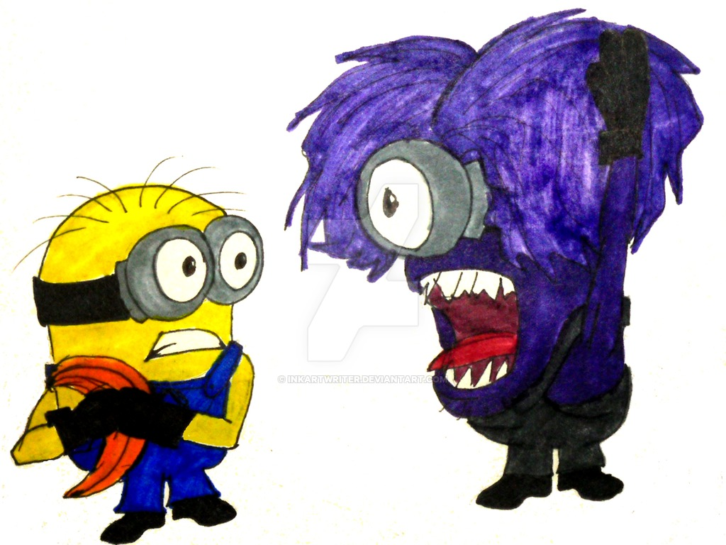 1024x768 Attack Of The Crazy Purple Monster Like Minion By Inkartwriter