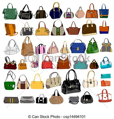 450x470 Set Of Purses And Bags Vector Clipart