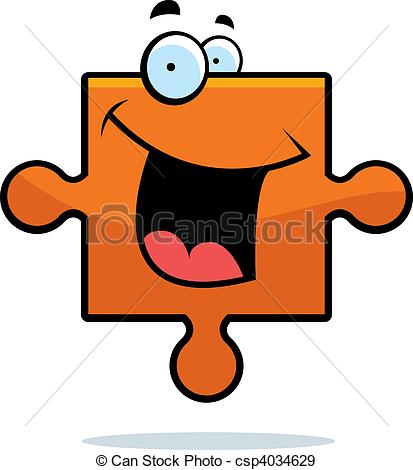 413x470 A Cartoon Puzzle Piece Smiling And Happy. Eps Vectors