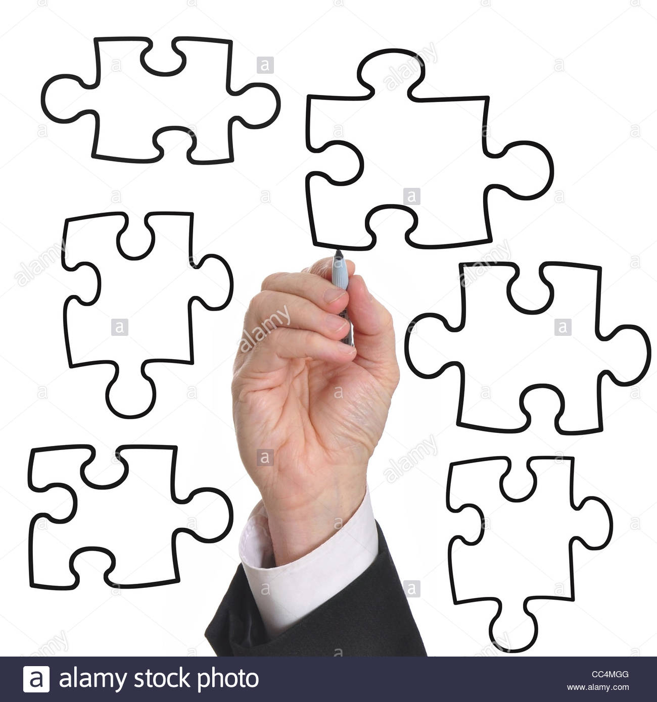 1300x1390 Male Executive Drawing A Business Diagram Puzzle. Plenty Of Room