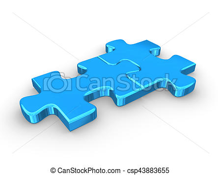 450x357 2 Connected Blue Puzzle Pieces. 3d Rendered Illustration. Stock