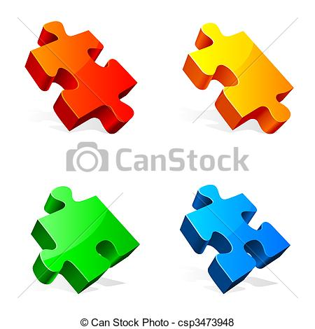 450x470 Three Red And White Puzzle Pieces Clipart Stock Illustrations
