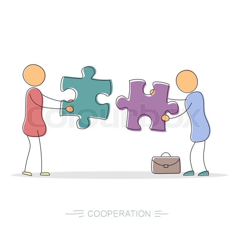 800x800 Vector Hand Drawing Illustration Of Cooperation Between Two