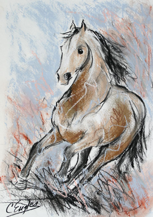500x710 Equine Artists International Quarter Horse At A Gallop, Charcoal