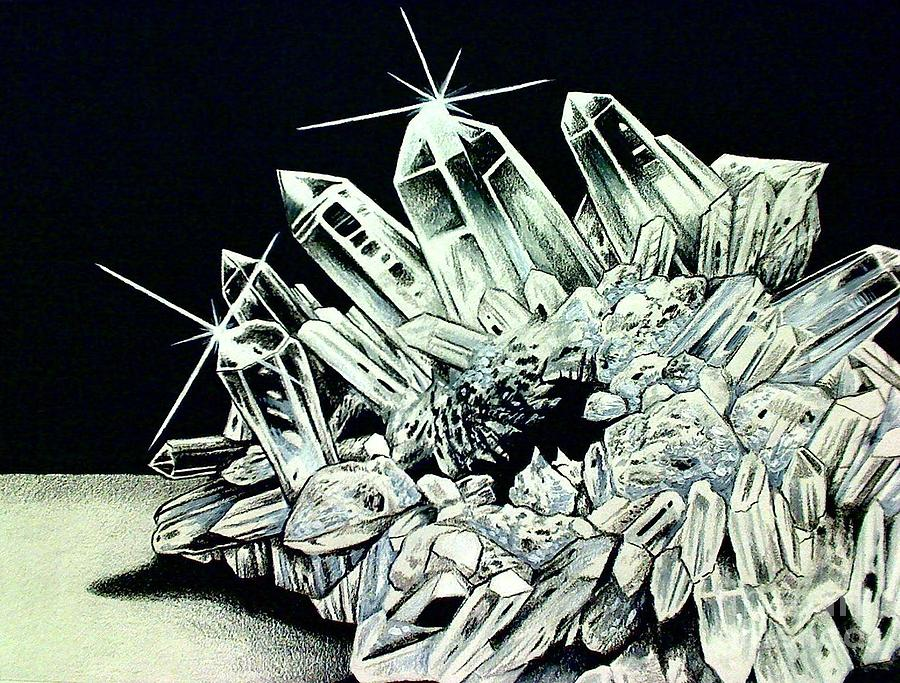 900x683 White Quartz Crystal Drawing By Kimberlee Ketterman Edgar