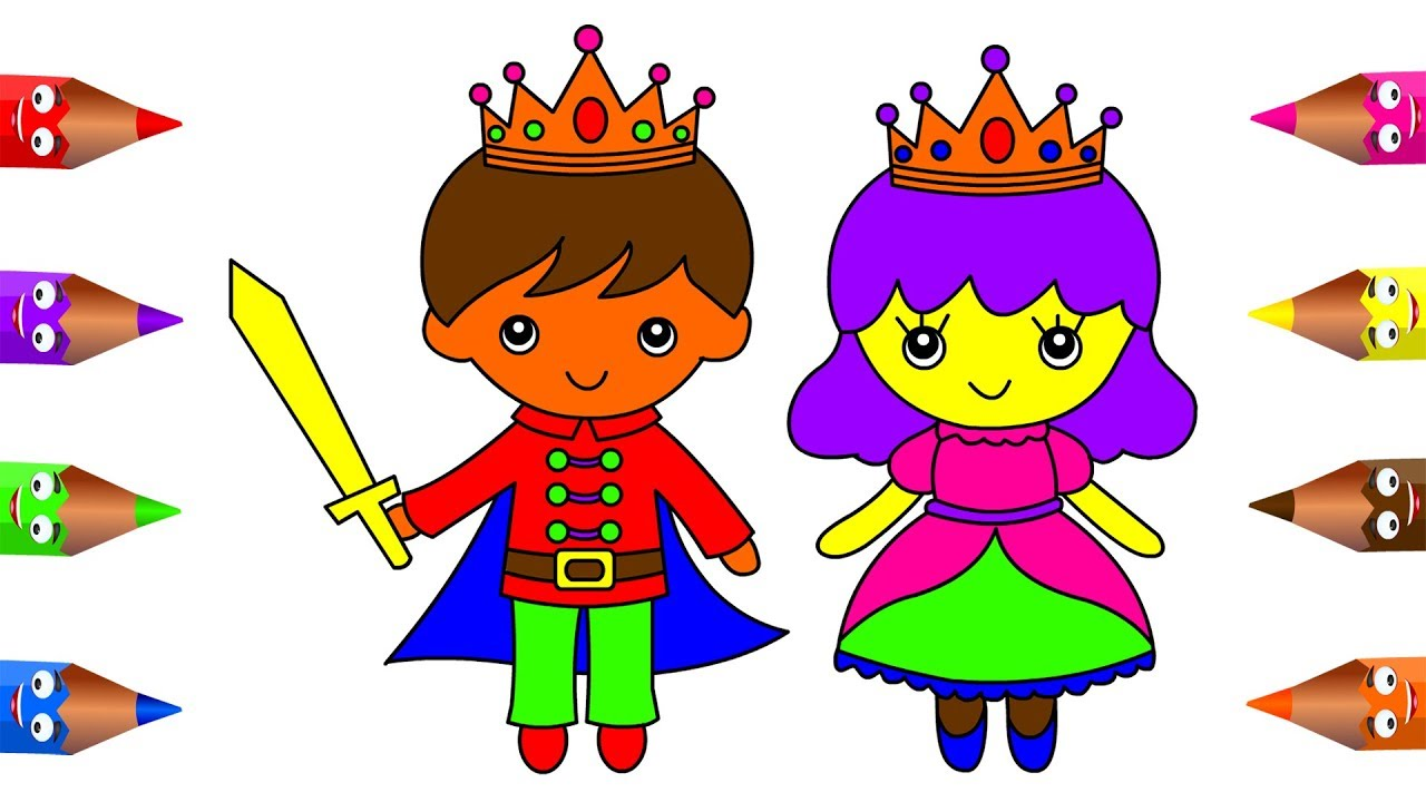 1280x720 How To Draw Little King And Queen Coloring Pages For Kids Children