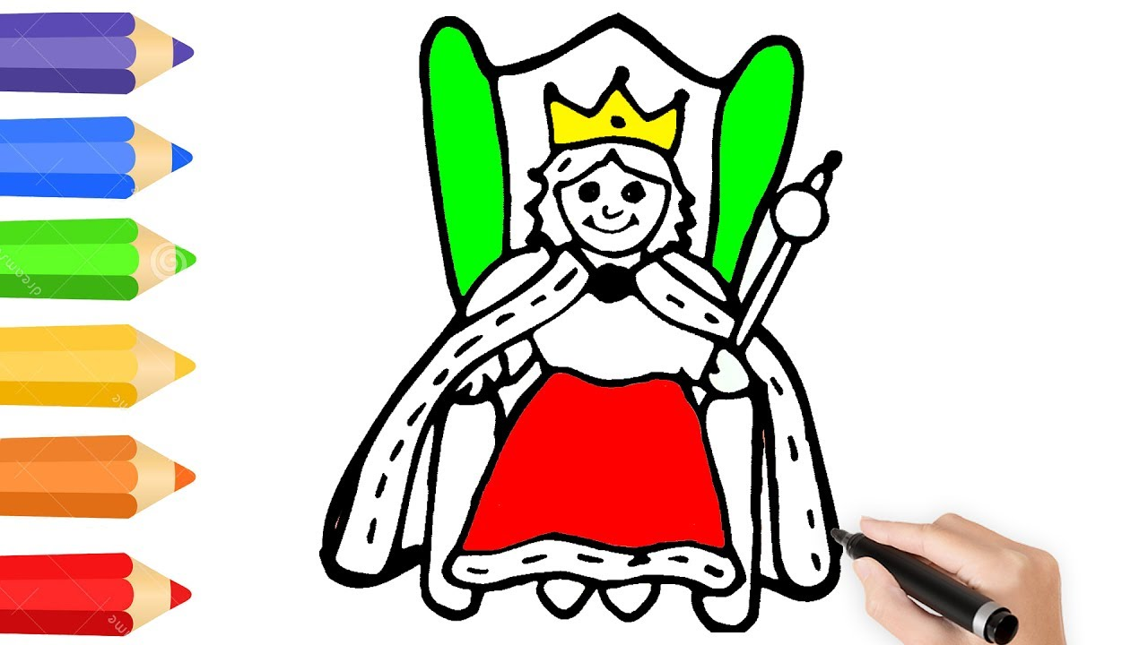 1280x720 Queen Coloring Page W How To Draw Queen Drawing Videos For Kids