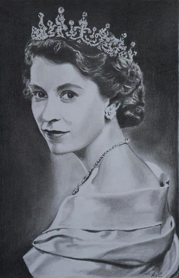 580x900 Hrm Queen Elizabeth Ii Drawing By Mike Oconnell