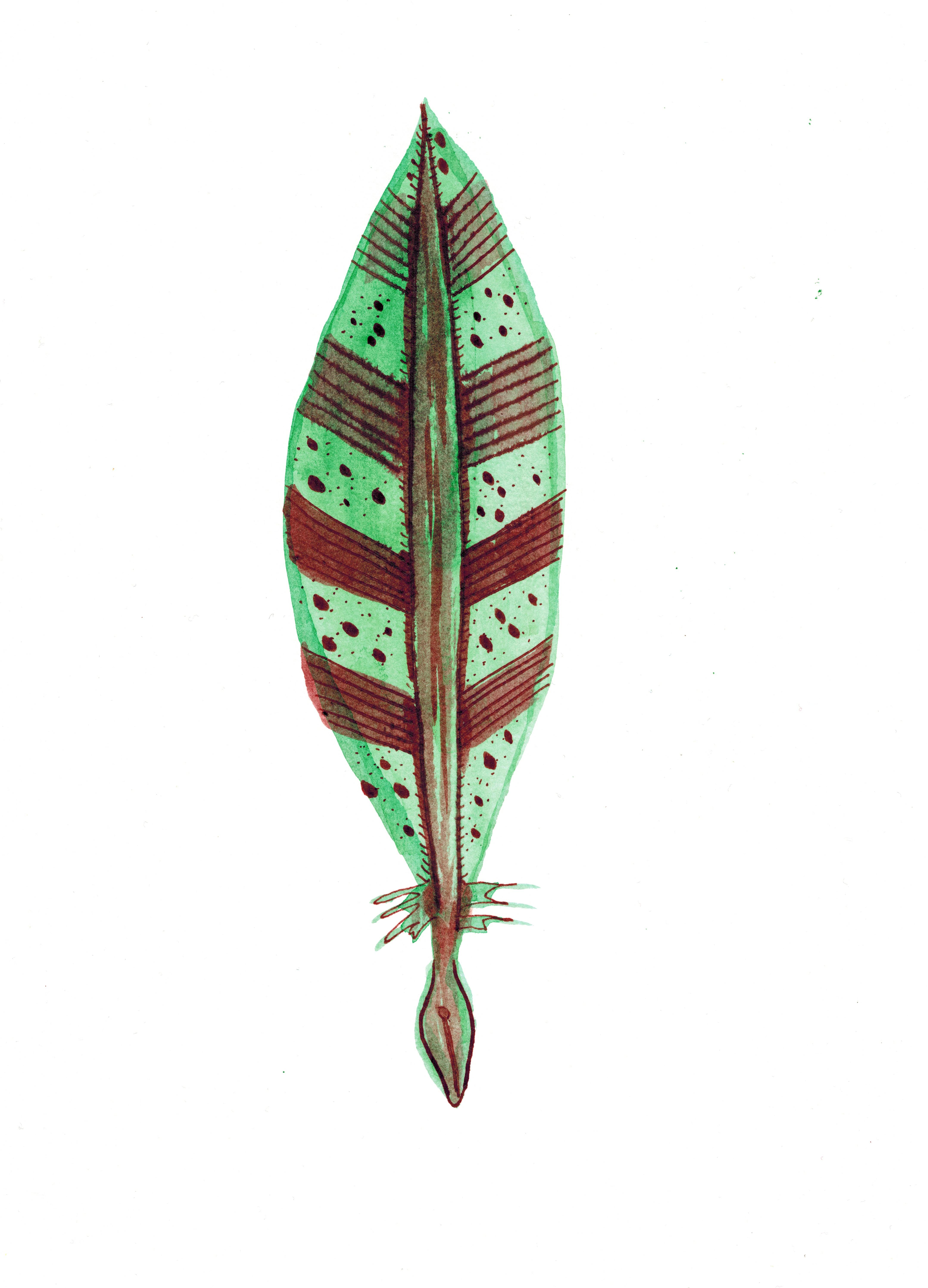 4307x5981 Emerald Quill Dip Pen Drawing Watercolor Wishlist Art