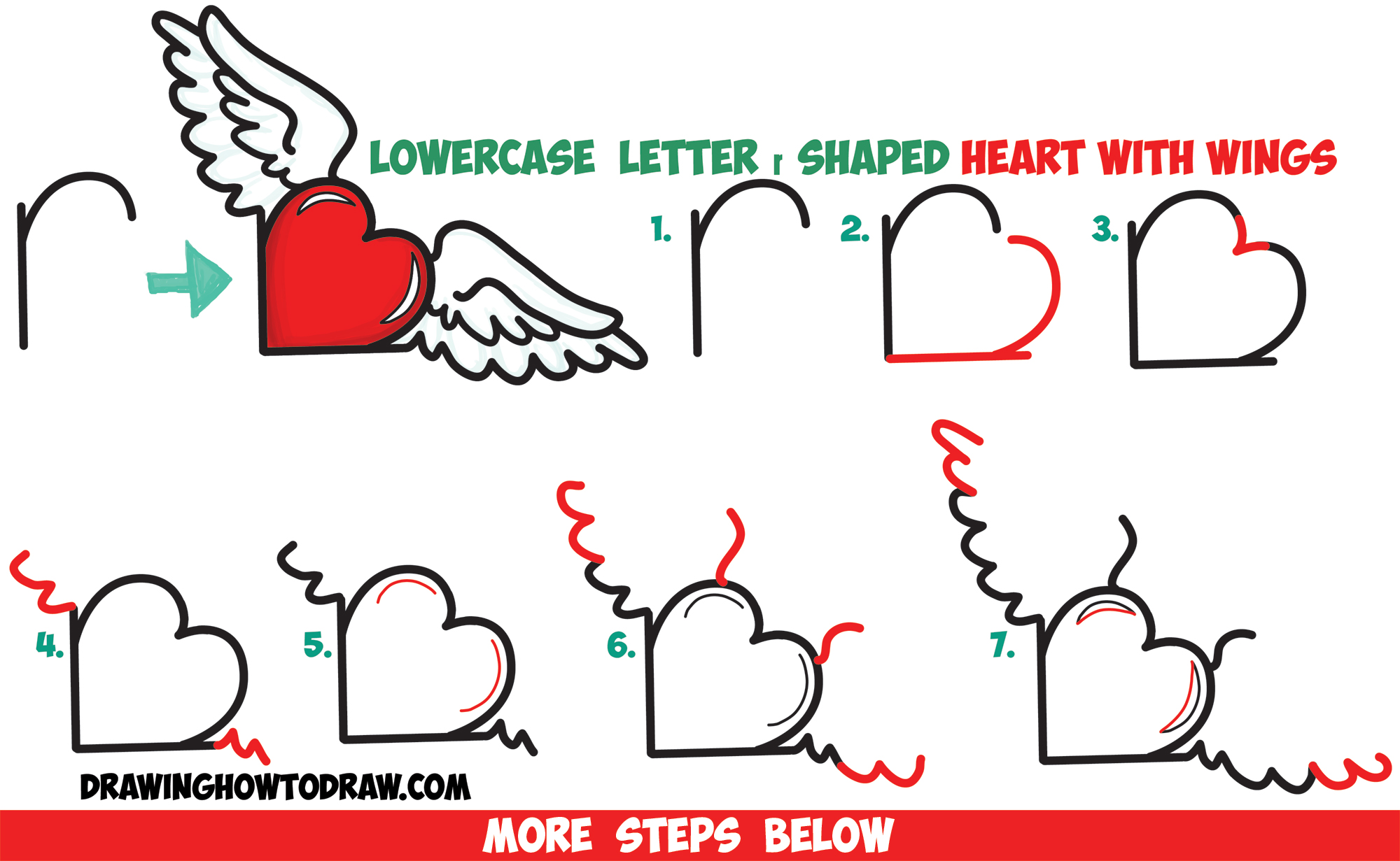 2000x1231 How To Draw Heart With Wings From Lowercase Letter R Shapes