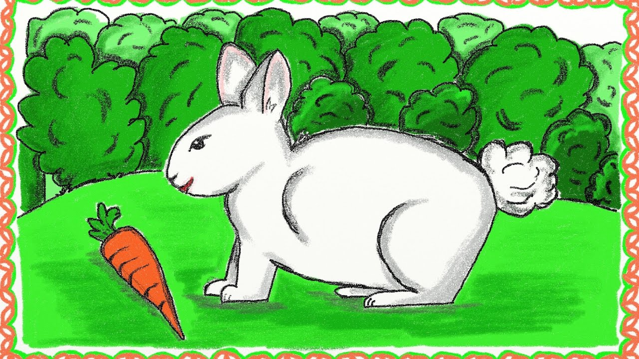 1280x720 Drawing A Simple Rabbit How To Draw A Rabbit Drawing For Kids