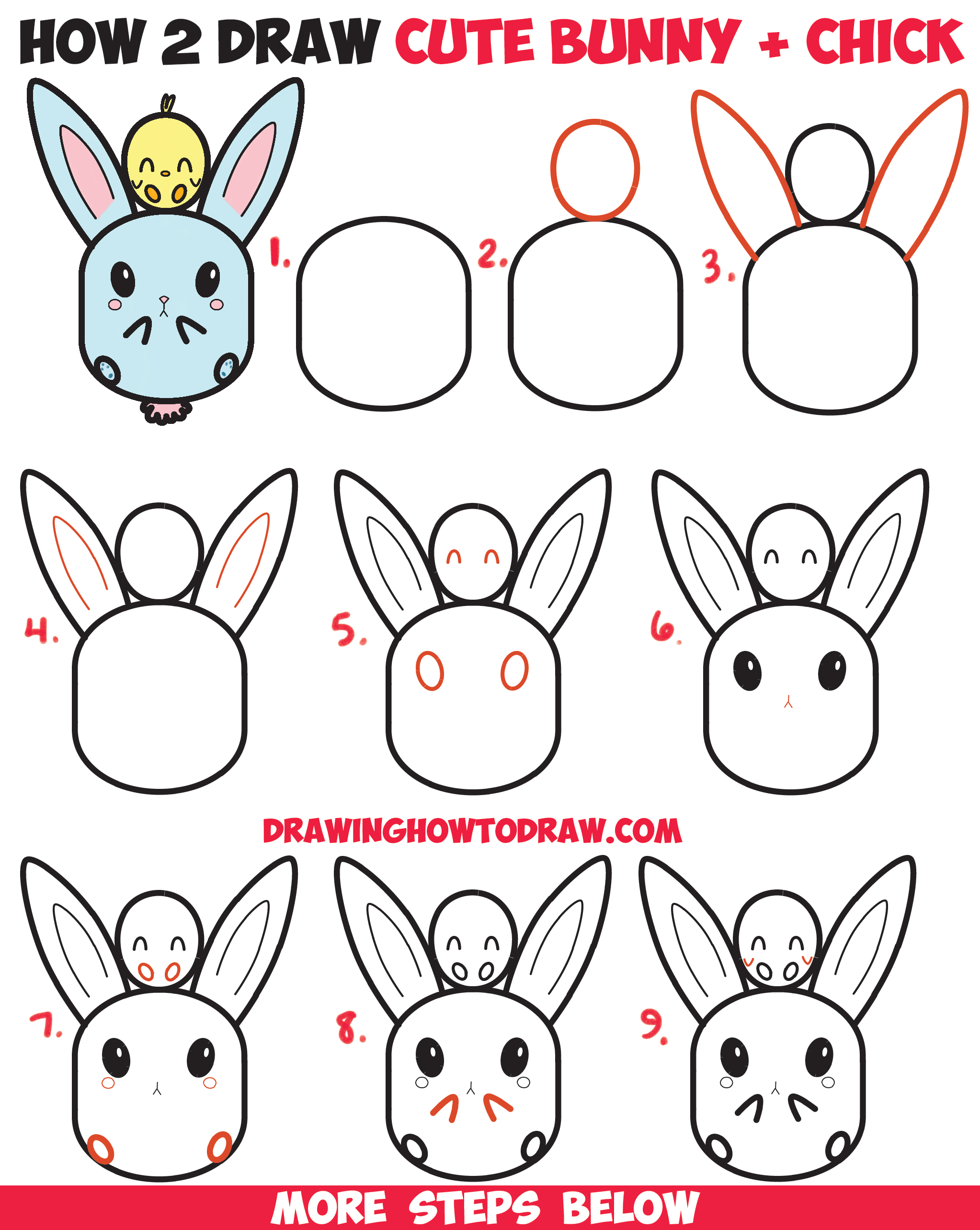 2046x2568 How To Draw Cute Kawaii Chibi Bunny Rabbit And Baby Chick Easy