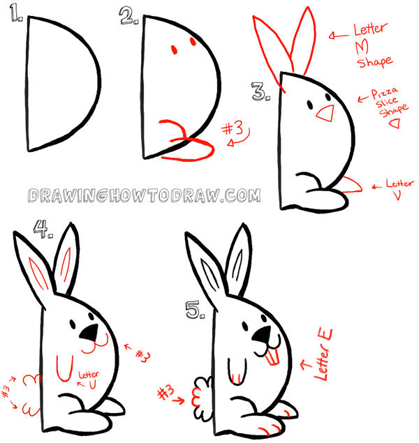 600x635 Big Guide To Drawing Cartoon Bunny Rabbits With Basic Shapes