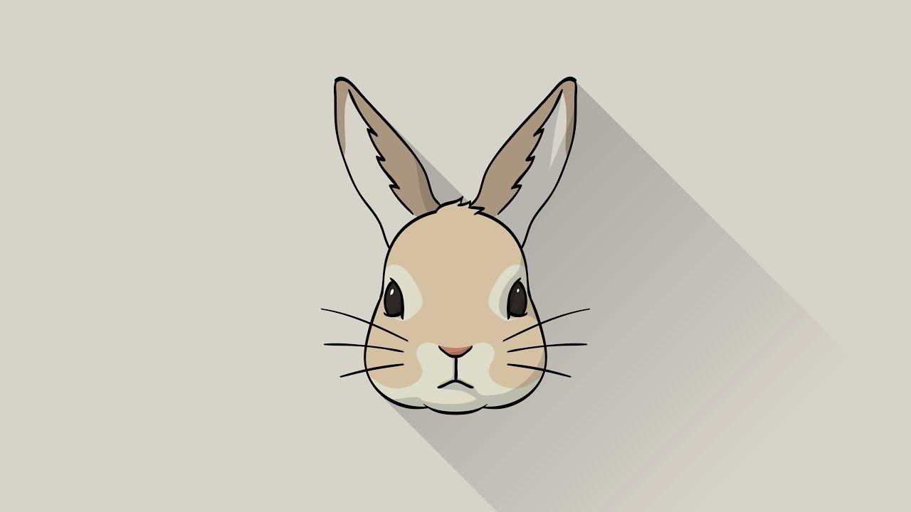 1280x720 Illustrator] Rabbit Icon Speed Drawing