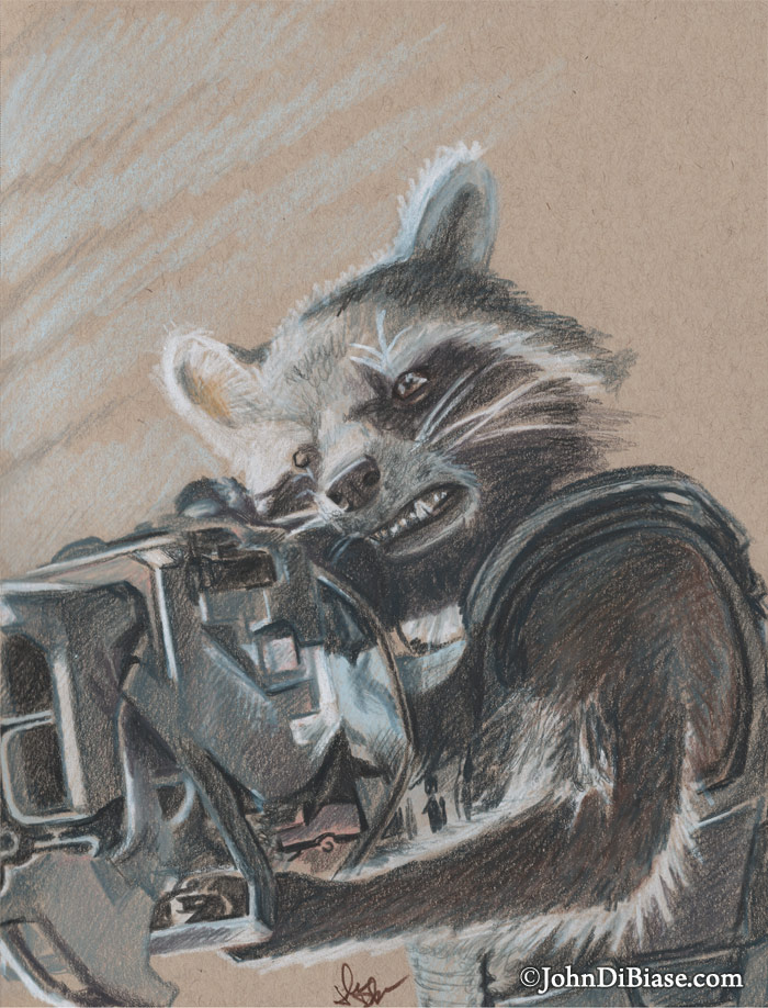 700x918 Colored Pencil Sketch Of Rocket From Guardians Of The Galaxy