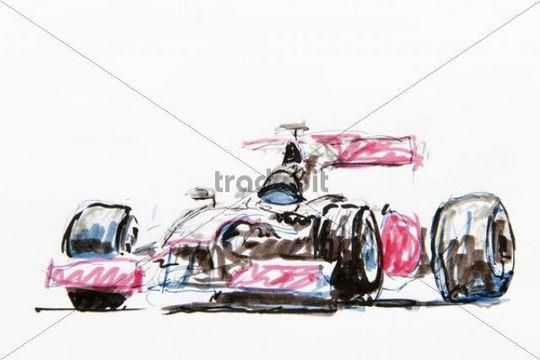 540x360 Formula 1 Racing Car, Drawing, Artist Gerhard Kraus, Kriftel, Germa