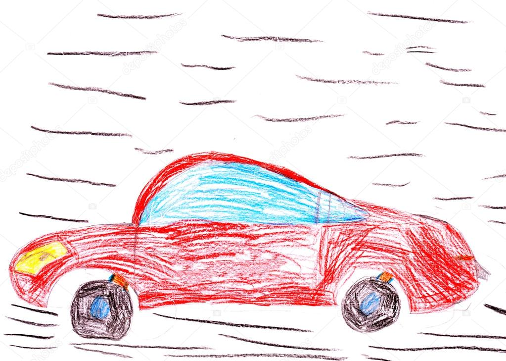 1023x729 Red Racing Car. Child's Drawing Stock Photo Soleg