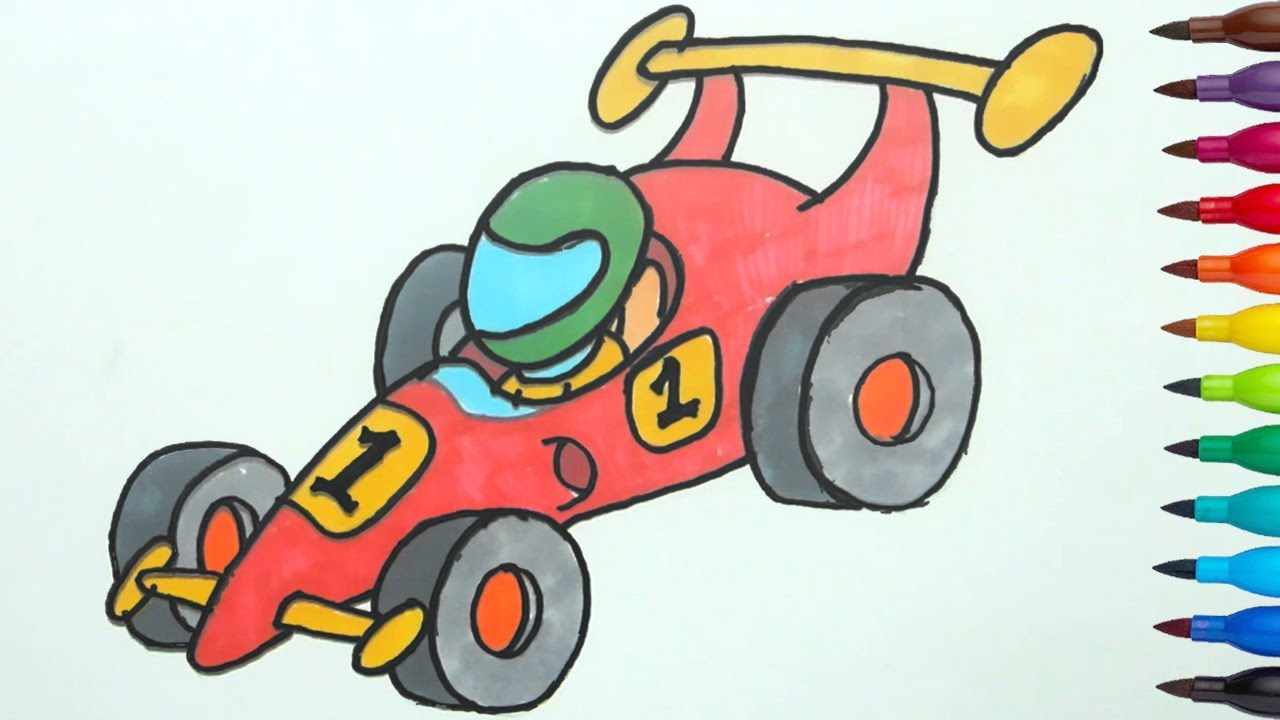 1280x720 How To Draw A Racing Car Easy Step By Step For Kids By Kids