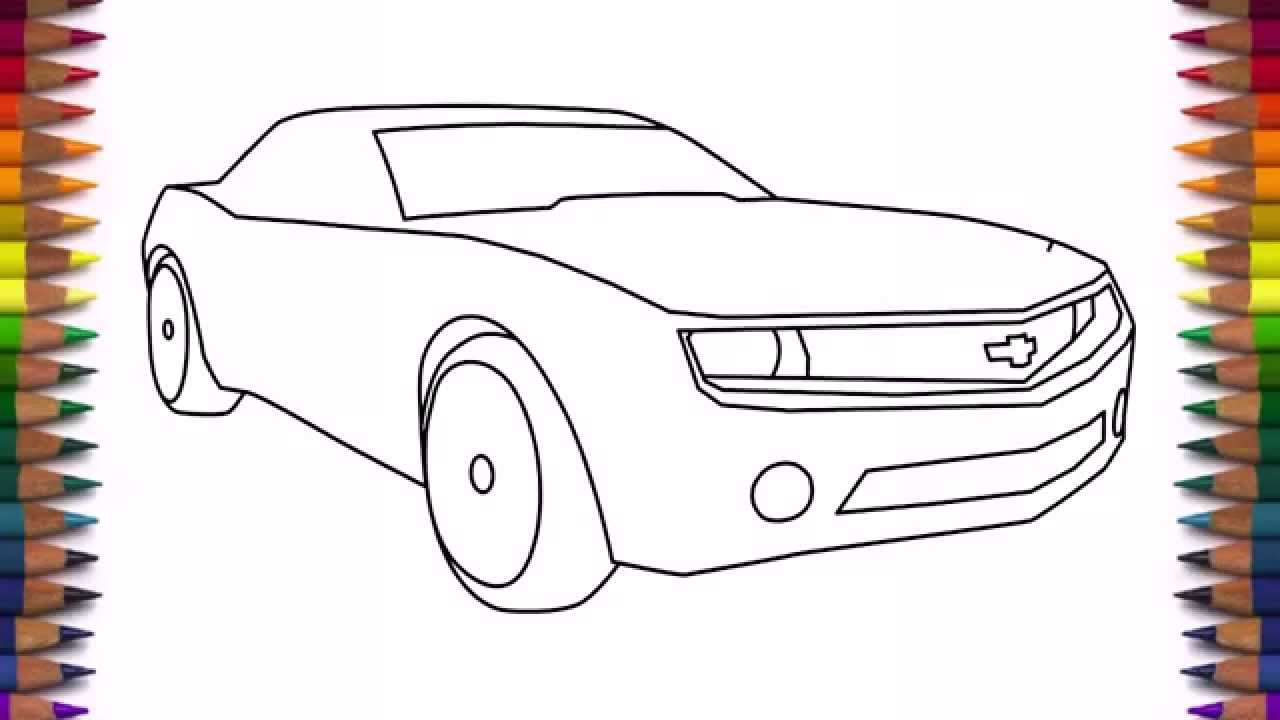 1280x720 How To Draw A Car Chevrolet Camaro (Bumblebee) Step By Step Easy