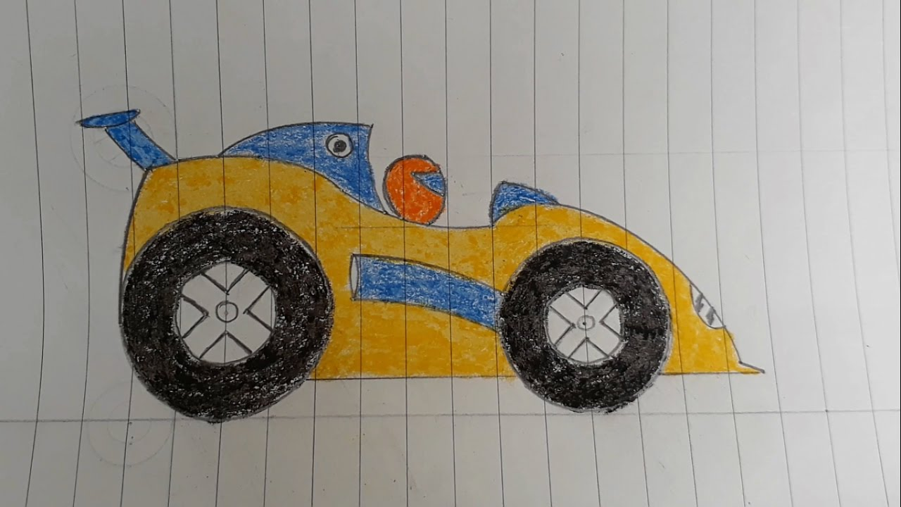 1280x720 Kid Family Learn How To Draw The Racing Car Step By Step Car