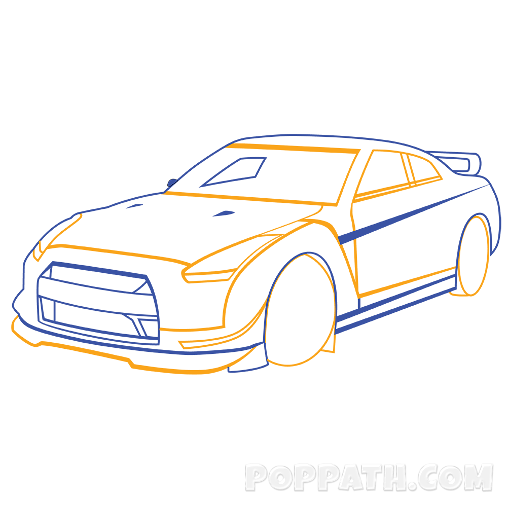 1000x1000 How To Draw A Race Car Pop Path