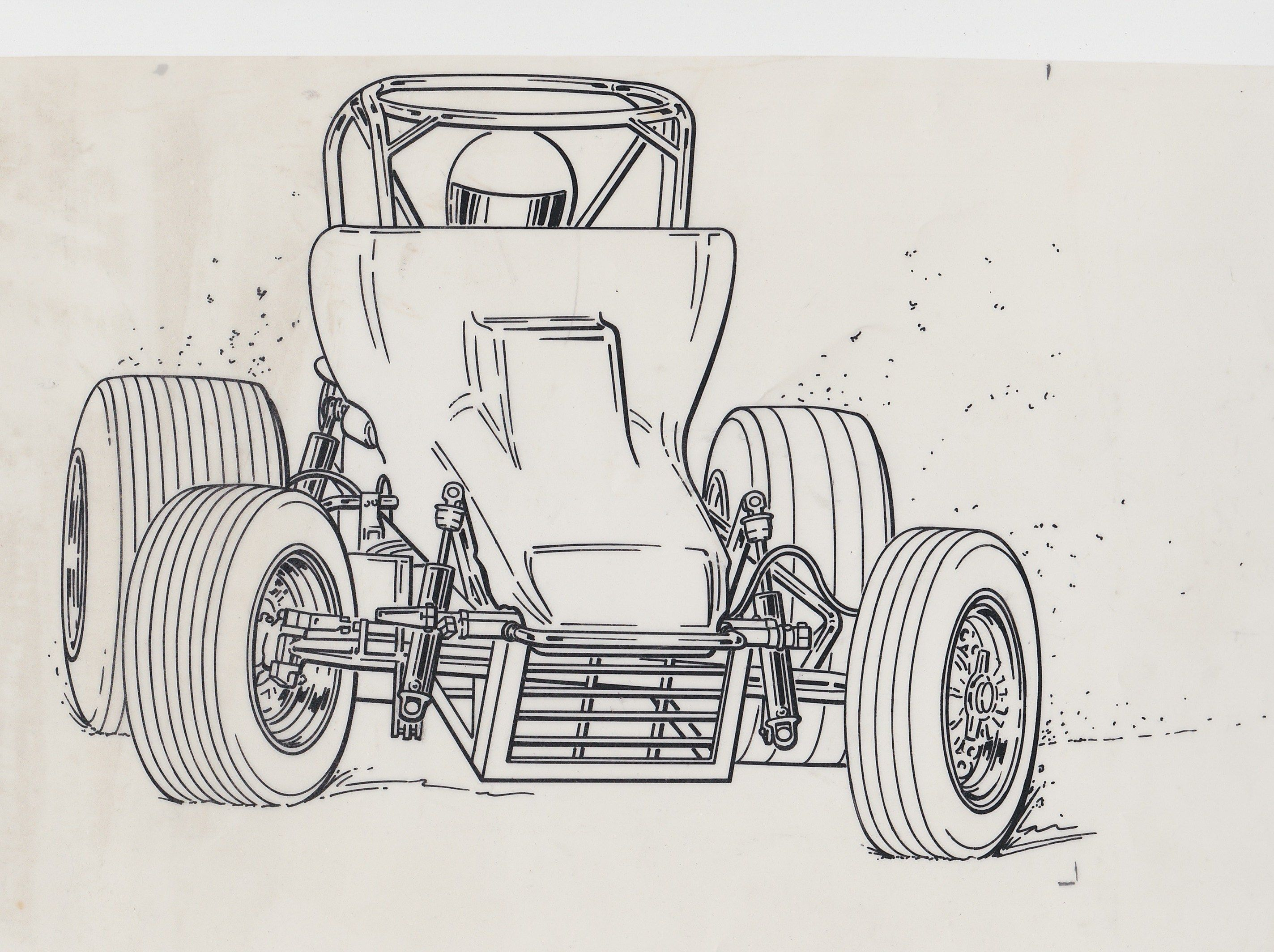 2847x2128 Line Drawing Of Buster Venard In The Gas Chem Car Auto Art