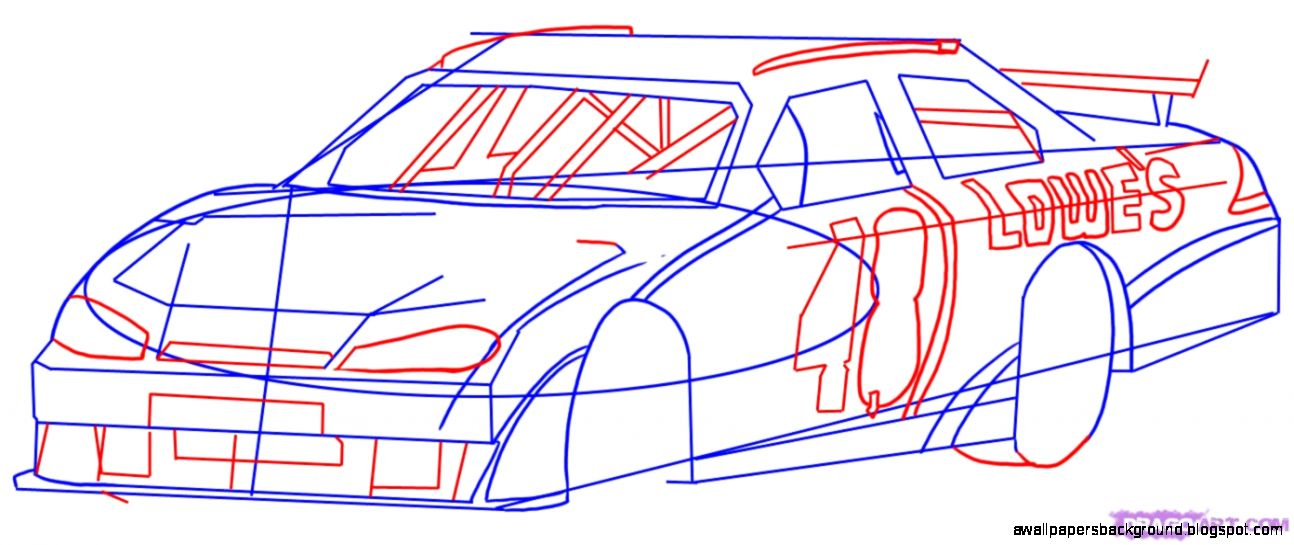 1294x545 Nascar Race Car Drawing Wallpapers Background