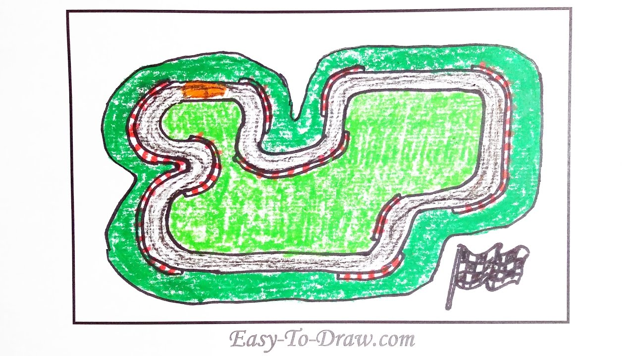 1280x720 How To Draw A Cartoon Race Track With Guardrail Step By Step