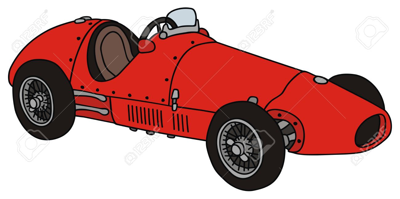 1300x649 Hand Drawing Of A Vintage Racing Car Royalty Free Cliparts