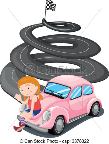 358x470 Illustration Of A Girl And Her Pink Racing Car On A White