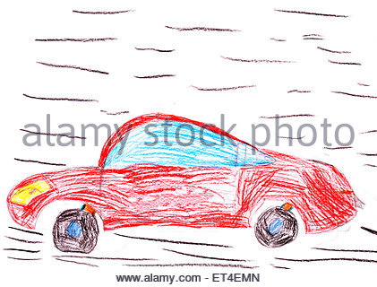 421x320 Red Racing Car. Child's Drawing On Paper Stock Photo 86329133