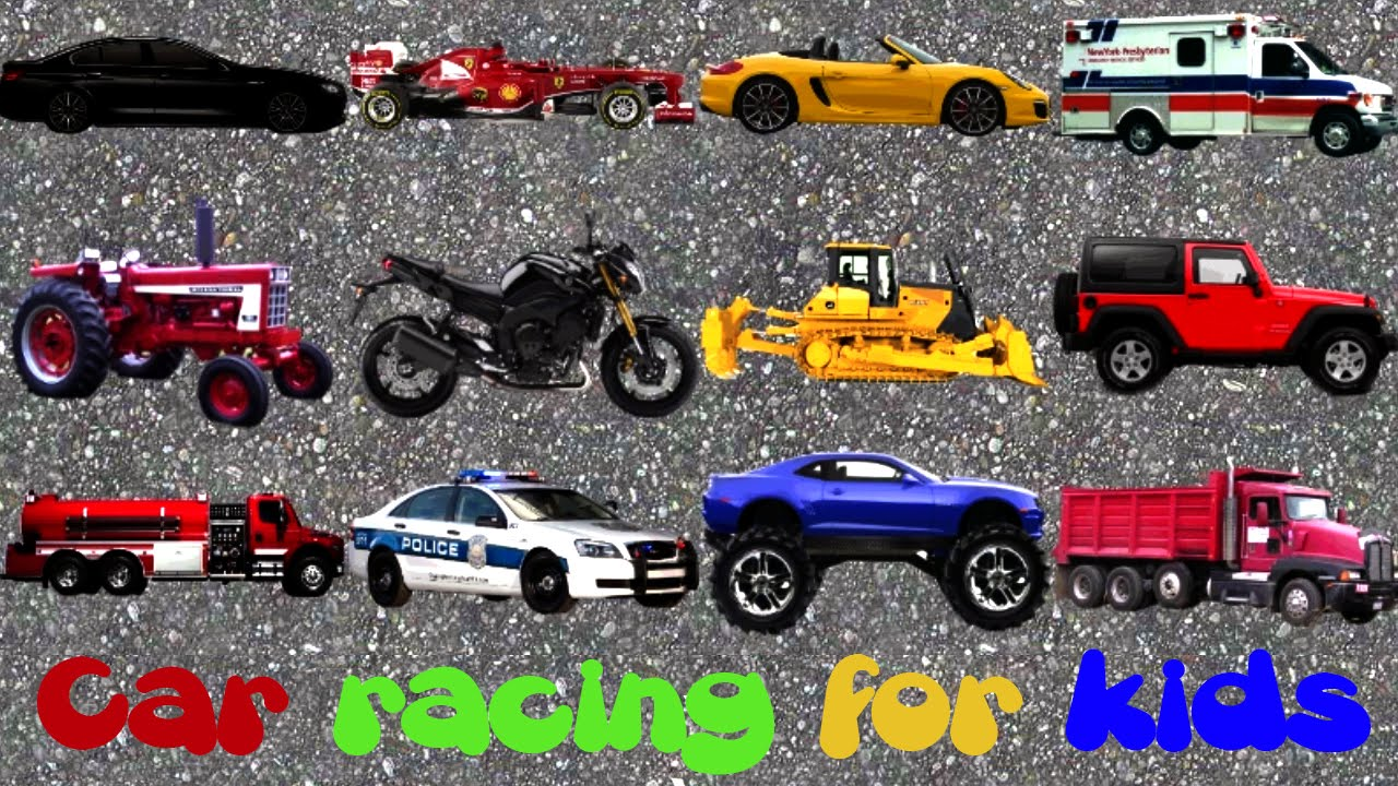 1280x720 Car Racing For Kids, Police Car, Ferrari, Ambulance, Truck,