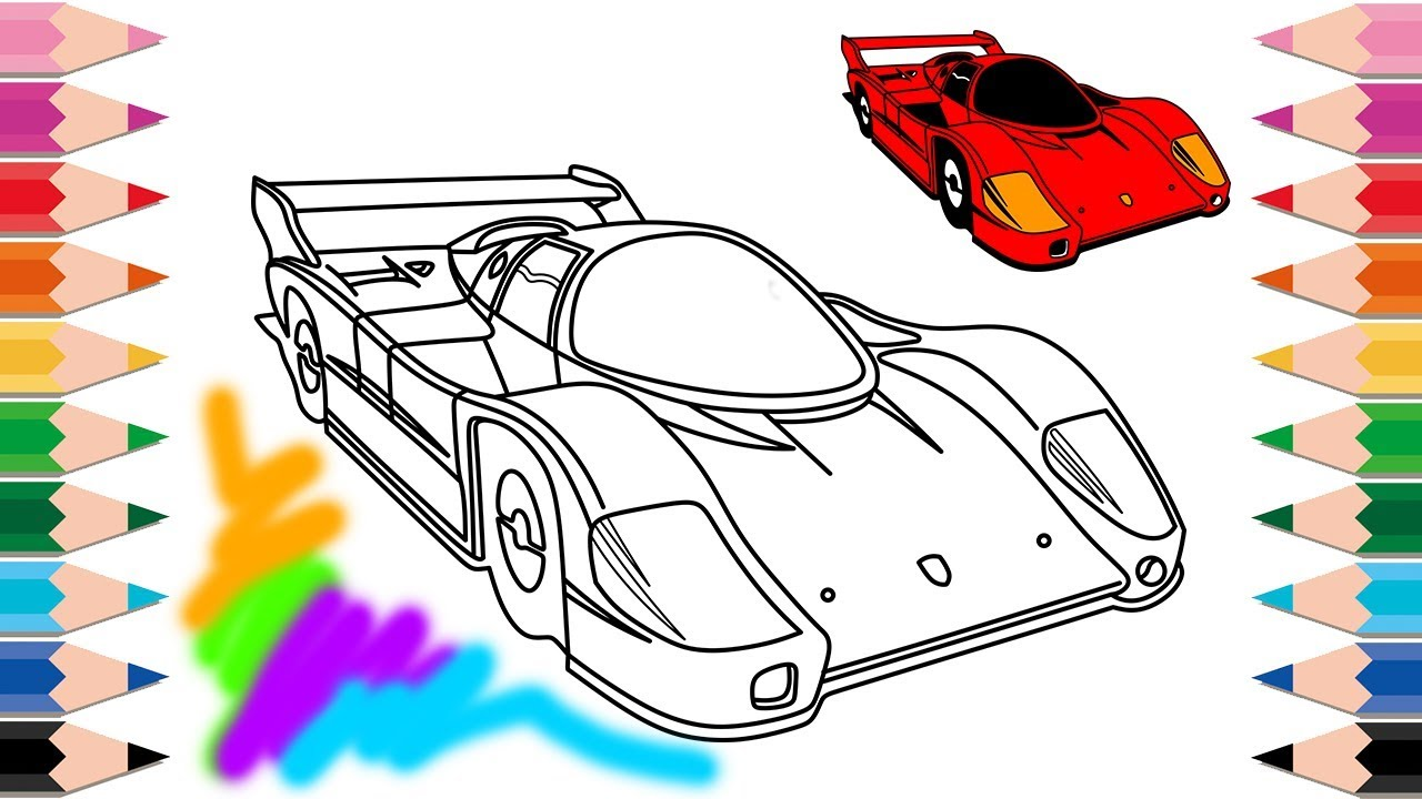 1280x720 How To Draw Super Cars Racing Cars Coloring Pages Learn Colors