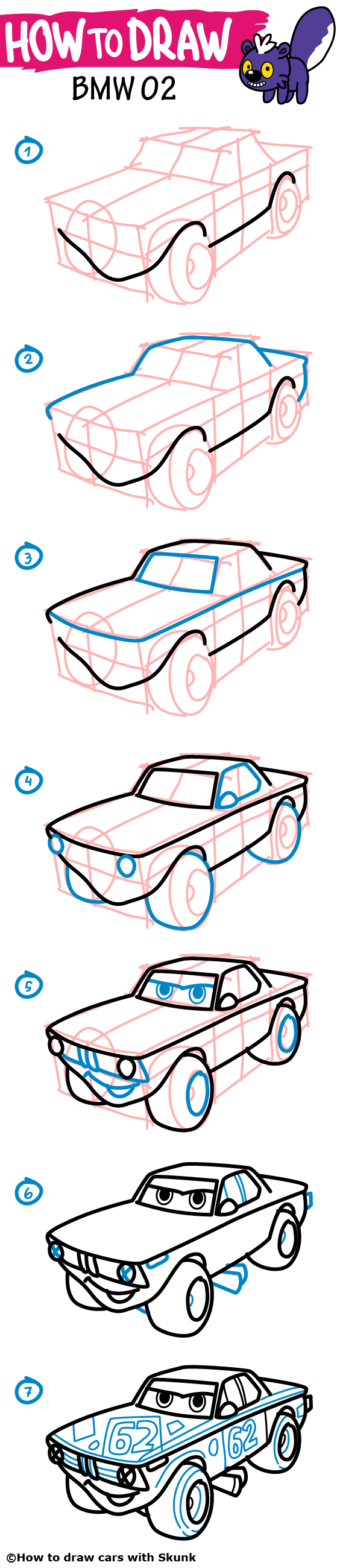 564x2600 How To Draw A Car. Bmw 02 Drag Racing Car. Coloring With Funny