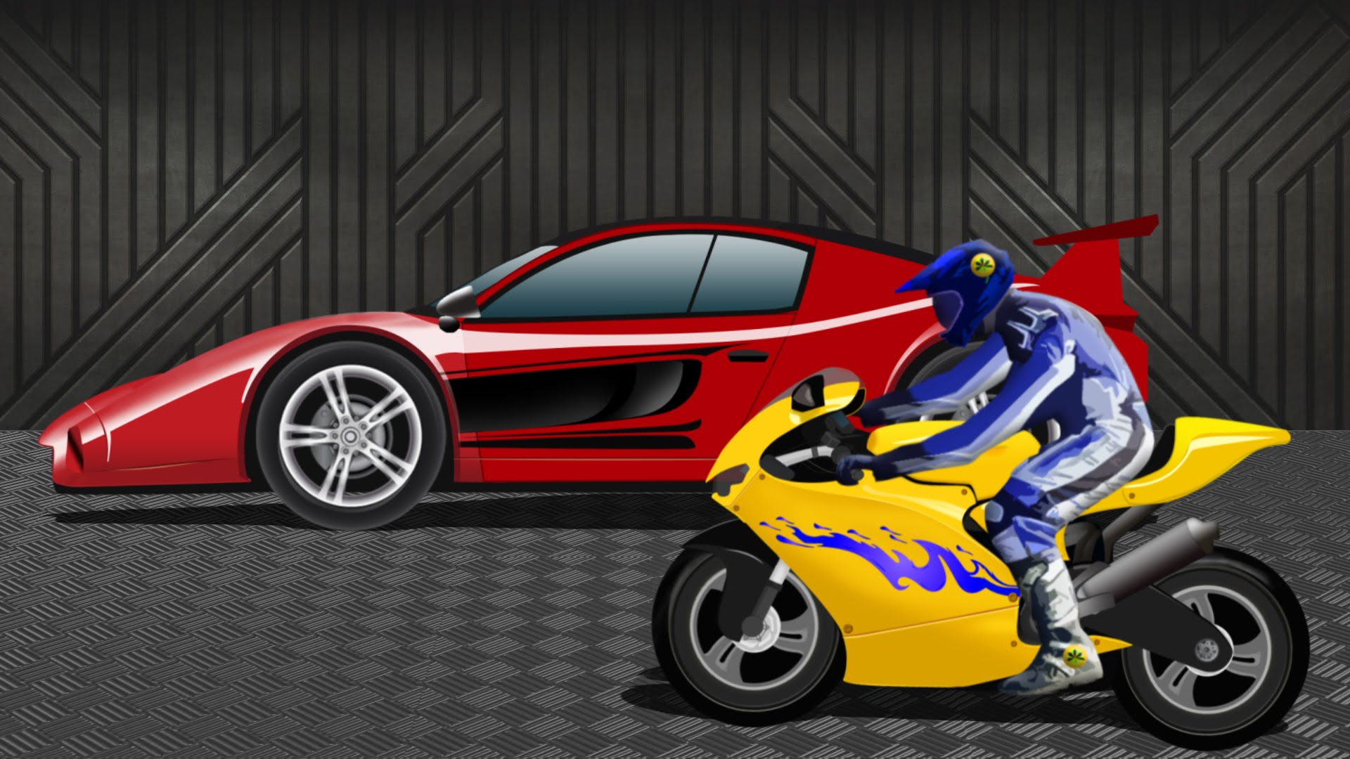 1920x1080 Sports Car Vs Sports Bike Race Video Kids Racing Video