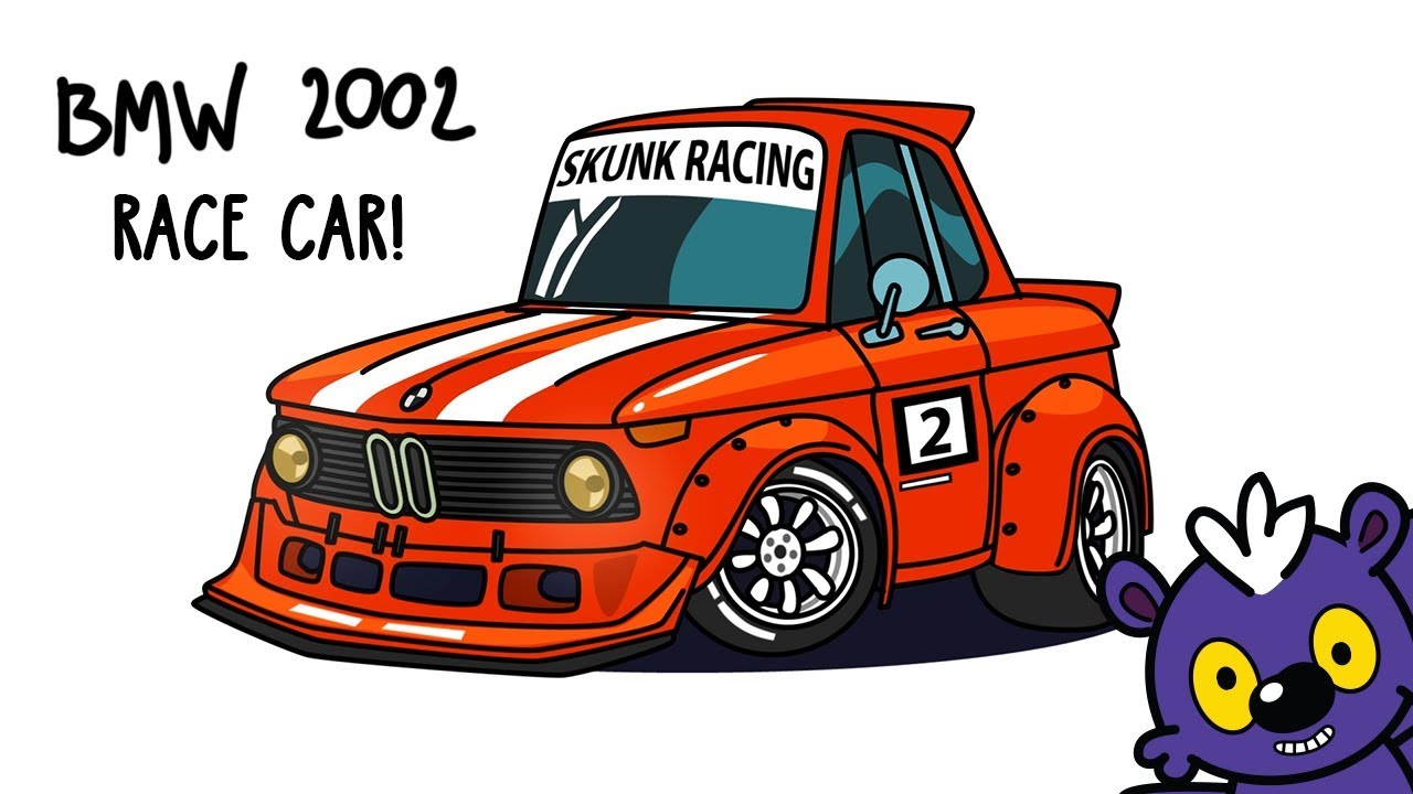 1280x720 How To Draw Bmw 2002 Tuned Race Car. Step By Step Cartoon Drawing