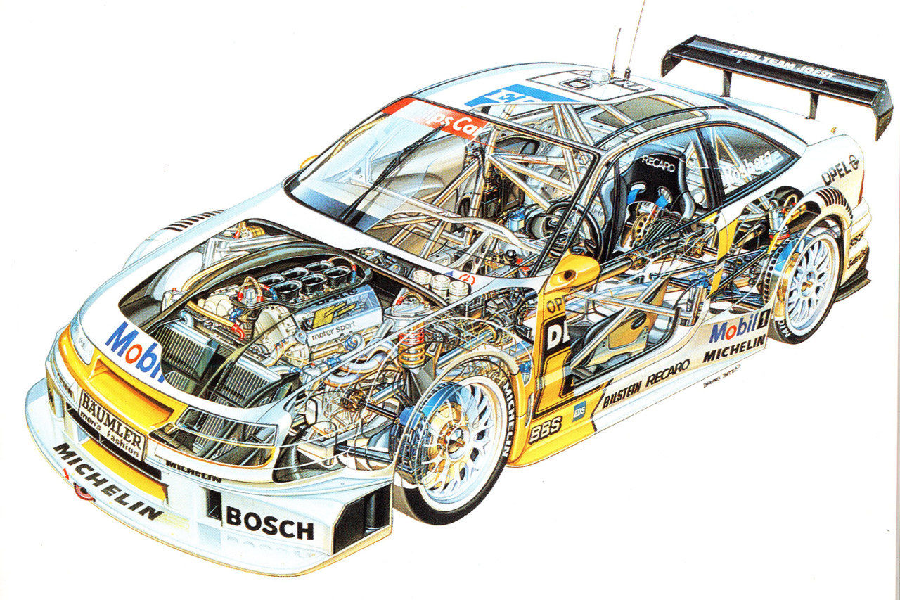 1280x853 Opel Calibra Dtm Race Car Cutaway Poster Print 24x36 Cutaway