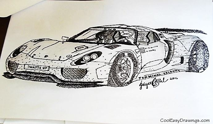 690x400 Drag Racing Car Drawing In Cross Hatching, Dots Amp Pencil Rendering