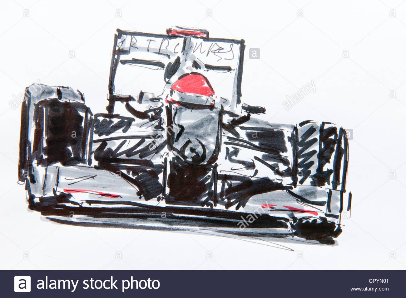 1300x956 Formula One Car, Racing, Drawing By Gerhard Kraus, Kriftel