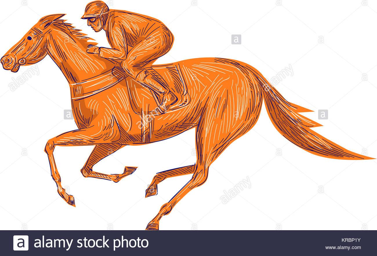 1300x883 Jockey Horse Racing Drawing Stock Photo 169289175